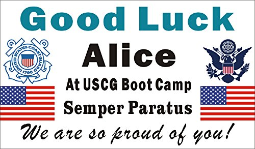 - Alice Graphics 3ftX5ft Custom Personalized US Coast Guard Going Away Goodbye Farewell Deployment Party Banner - Good Luck At USCG (United States Coast Guard) Boot Camp