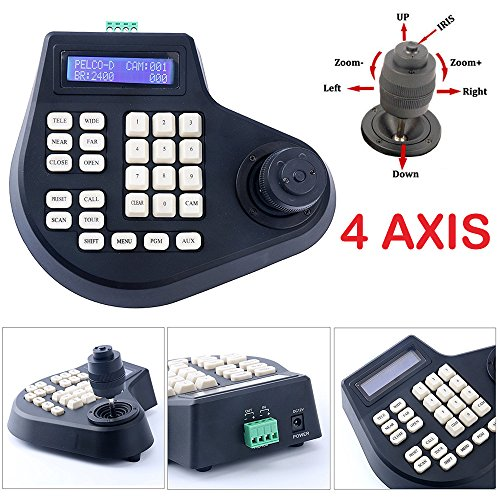 4 Axis Dimension Joystick CCTV Keyboard Controller for PTZ Speed Dome Camera. strong anti-jamming and long-distance transmission (Max 1.5km)