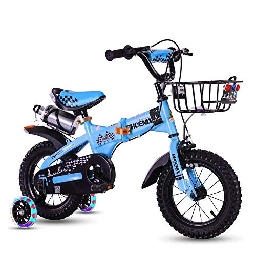 CXYGZLJ Outdoor Sports Bike, Folding Children's Bicycle, Bottle Cage, Protective Gear, Flash Assist Wheel, 12 Inch / 14 Inch / 16 Inch / 18 Inch (Color : Sky Blue, Size : 18 inches)