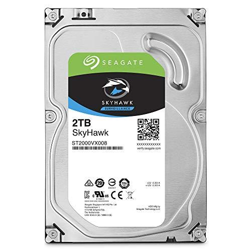 (Seagate SkyHawk 2TB Surveillance Hard Drive - SATA 6Gb/s 64MB Cache 3.5-Inch Internal Drive (ST2000VX008), Silver )
