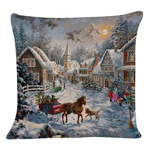 MZS Tec Merry Christmas Style Snow House Pattern Pillow Cases Square Sofa Throw Pillowcases Seat Cushion Covers (Pattern 5) for $<!--$4.49-->