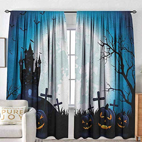 Petpany Bedroom Blackout Curtain Panels Halloween,Spooky Concept with Scary Icons Old Celtic Harvest Figures in Dark Image Holiday Print, Blue,All Season Thermal Insulated Solid Room Drapes 84