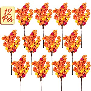 Silk Flower Arrangements Whaline Autumn Orange Berry Twig Stem, 12 Pack Artificial Orange Berry Picks for Fall Decor, Christmas Tree Decorations, Crafts, Wedding, Holiday Home Decoration