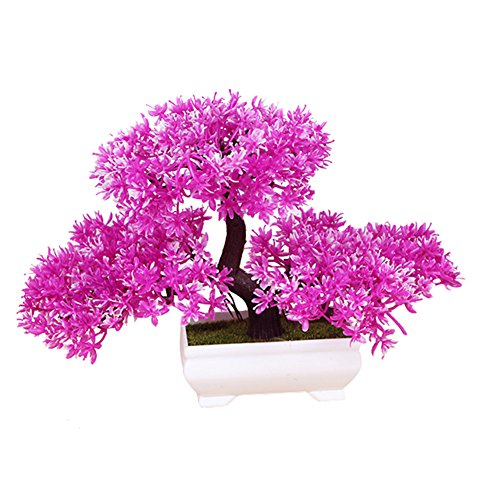 Frjjthchy Mini Artificial Bonsai Tree Plants with Plastic Cement Pots for Home Office Décor (Rose Red)