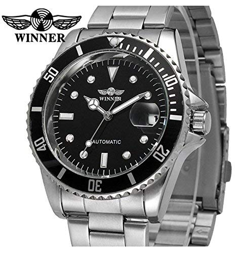 Hombres automático Mecánico relojes Winner marca de lujo resistente al agua para hombre de acero completa relojes con calendario: Amazon.es: Relojes