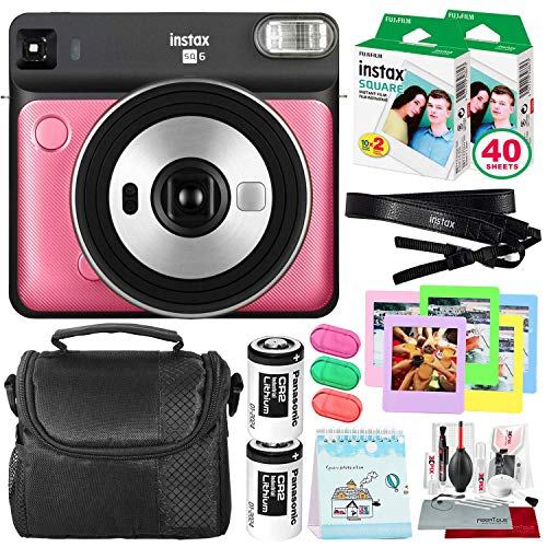 Fujifilm instax Square SQ6 Instant Film Camera (Ruby Red) + 40 Sheet Square Instant Film + Case + Deluxe Bundle (USA Warrantty)