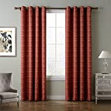 Cheap ChadMade Contemporary Heat Tranfer Print Abstract Stripe Blackout Lined Curtain Panel Drape Anti-Bronze Grommet Red Orange Stripe 52Wx108L Inch (1 Panel)