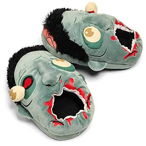 Fuzzy Zombie Plush Slippers Baggy Plants Vs Zombies Punk Style Slippers Winter Warm Shoes Vault Zombies Afoot Plush Slippers Footwear for Halloween Parties Costume -