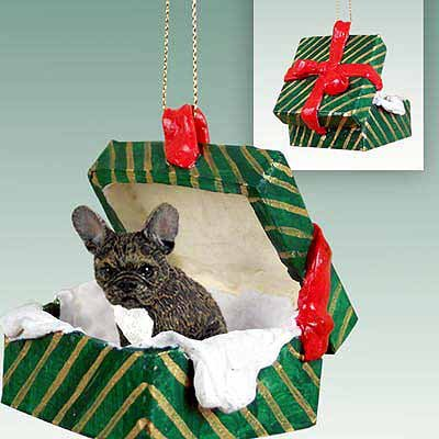 Dog Green Gift Box - French Bulldog Green Gift Box Dog Ornament