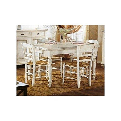 Tavolo Legno Bianco Anticato.Estea Mobili Tavolo Legno Rettangolare Allungabile Laccato Bianco Anticato 111068949409