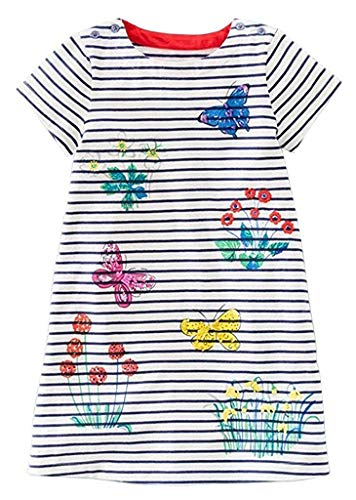 Fiream Grils Cotton Striped Dresses Shortsleeve Animal Appliques T-Shirt Casual Dresses(Butterfly,3T/3-4YRS)]()
