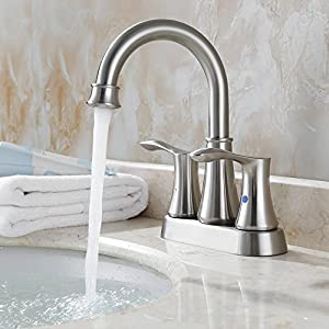 PARLOS Swivel Spout 2-handle Lavatory Faucet Brushed Nickel Bathroom Sink Faucet with Pop-up Drain and Faucet Supply Lines, Demeter 13627
