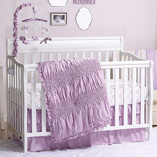 Lilac Kisses Purple Smocked 4 Piece Crib Bedding Set by The Peanut Shell Lilac Kisses