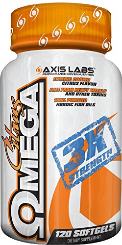 Axis Labs | Purified Omega Fish Oil | Mineral Supplement | Essential Brain Support | 120 Soft Gel Capsules | Citrus Flavored