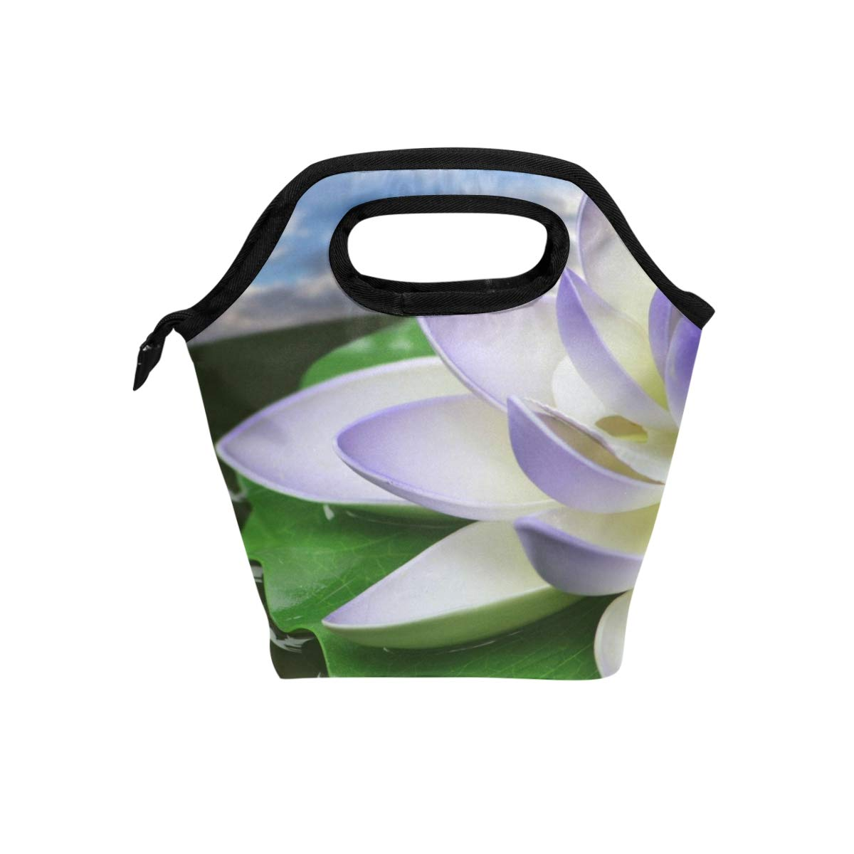Lunch Tote Lotus Flower White Purple Mens Insulated Lunch Bag Zipper Kids Lunch Box