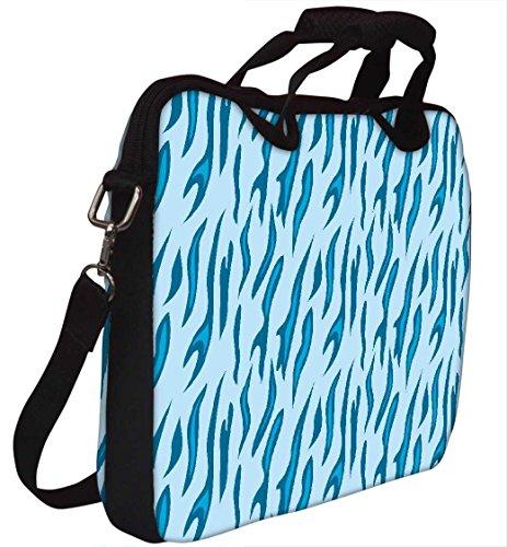 Snoogg Abstrakt Blau Chetah Design 30,5cm 30,7cm 31,8cm Zoll Laptop Notebook Computer Schultertasche Messenger-Tasche Griff Tasche mit weichem Tragegriff abnehmbarer Schultergurt für Laptop Tablet