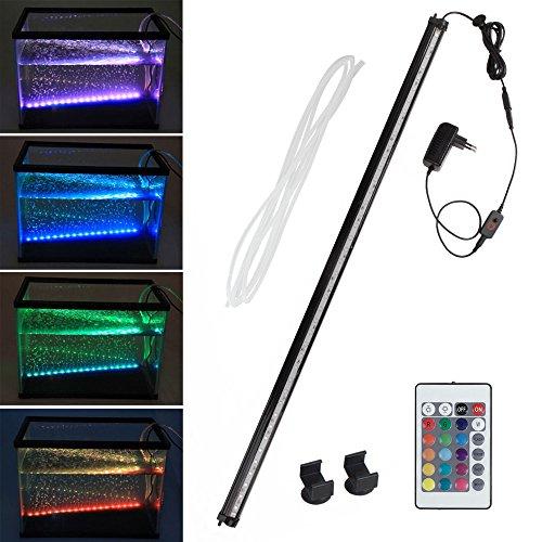 SPEED Aquarium LED Bubble Beleuchtung Hochwasserblase Lichtleiste Wasserfest RGB LED Blase Licht Bar mit RC Fernbedienung 88CM