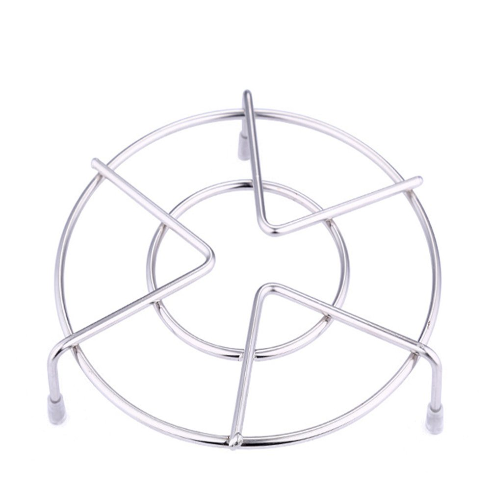 Anqeeso Stainless Steel Round Trivets,Steam Rack Metal Home Food Steaming Rack Stand Steamer Heat Resistant Insulation Pot Holder Mat
