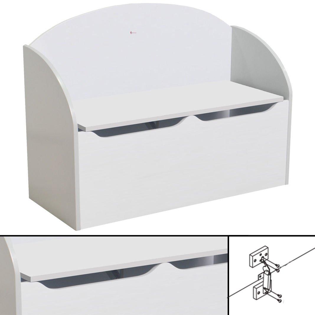 habeig KINDERBANK weiß ~ 77x55x30cm Soft Close Bank Kindermöbel Stuhl Sitzmöbel Truhe hot-stock