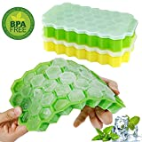 #7: Ice Cube Trays,Wattly 2 Pack Food Grade Silica Gel Flexible and BPA Free 74 Cubes Ice Trays with Lid Stackable Mini Cocktail Whiskey Ice Cube Mold Storage Containers-Green/Yellow