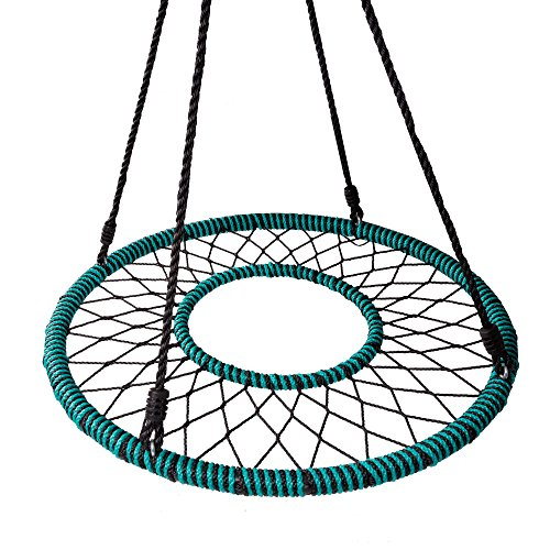 Play Platoon Spider Web Tree Swing with Open Center - Includes Hanging Kit - Fully Assembled Tire Swing, 40 Inch Diameter, 600 lb Weight Capacity, Easy to Install
