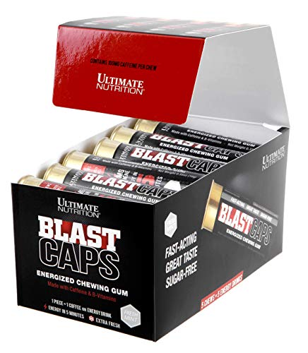 Ultimate Nutrition Blast Caps Shotgun Shell Energy Gum – Fast Acting Sugar Free with Vitamin B12, Complete 18 Shell Box, 90 Chews