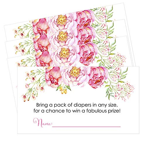 Floral Baby Shower Diaper Raffle Cards Set of 25 Invitation Inserts