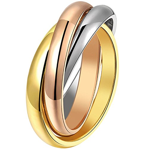 Eternity Rolling Ring (BOHG Jewelry Womens High Polish Triple Interlocked Rolling Eternity Ring Band Promise Wedding Silver Gold Size 8)