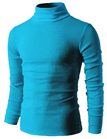 H2H Mens Slim Fit Basic Ribbed Thermal Turtleneck Pullover Sweaters BLUE US S/Asia M (KMTTL033)