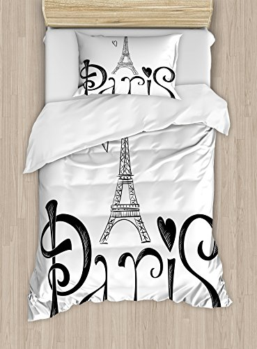 Paris City Decor Duvet Cover Set by Ambesonne, Illustration with Eiffel Tower France Heart Shapes Silhouette Decorative Vacation Art, 2 Piece Bedding Set with 1 Pillow Sham, Twin / Twin XL Size