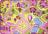 Pink Non Slip Funfair Colorful Kids Playmat CarpetTown City Roads Children Floor Play Area Rug Girls Play Mat