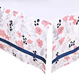 Coral Pink and Navy Blue Floral Tailored Crib Dust Ruffle by The Peanut Shell