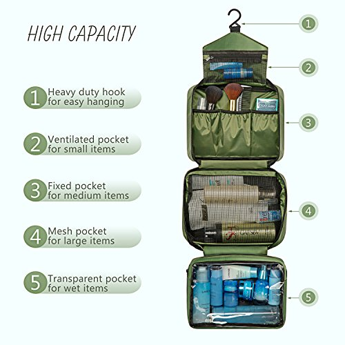 Travel Toiletry Bag for Men - Hanging Toiletry Bag with 4 Compartments, Portable and Waterproof Compact travel Bathroom Organizer,Ideal for Travel or Daily Life (Olive Green)
