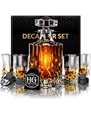 Whiskey Decanter Set with 4 Glasses and 9 Cooling Whisky Stones, Funnel for Rum, Scotch, Bourbon, Liquor Crystal Clear Whiskey Decanter Sets for Men Christmas Gifts for Men Dad Boyfriend Husband Him