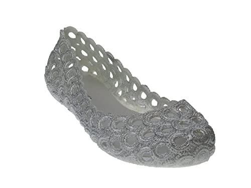 2130c8701082 Top Moda Jelly 20 Womens Shimmer Cut Out Jelly Flats Silver 6