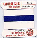 Bulk Package Savings - Griffin Silk Beading Thread with Needle - Size 1 Dark Blue -Ten Piece Pkt