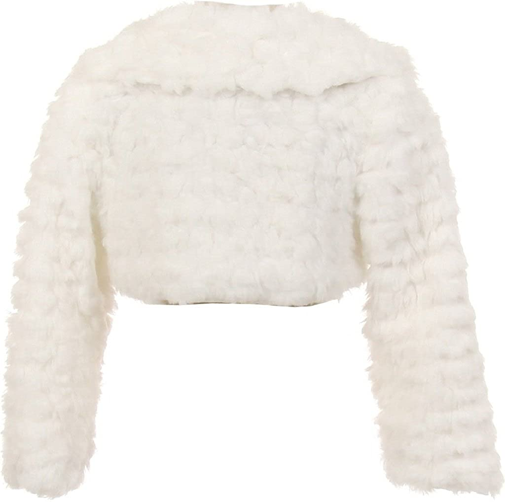 BluNight Collection Long Sleeve Collar Pearl Button Faux Fur Little Girl Bolero