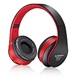 Antopos Bluetooth Kids Headphones, FM Hi-Fi Stereo Wireless Foldable Headset with Built-in Mic and Volume Control for Cell Phone / TV / PC (Red in Black)
