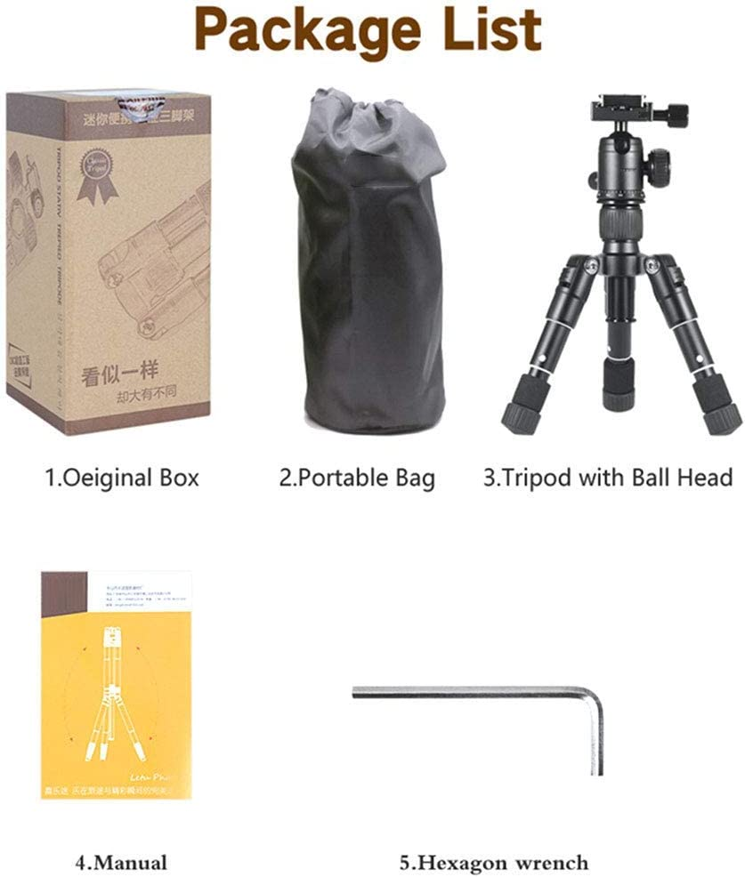 Mini Portable Aluminum Alloy Tabletop Tripod Universal Ball Head Support Different Shooting Angles for Digital Cameras//Smartphones Mengen88 Multi-Functional Tripod