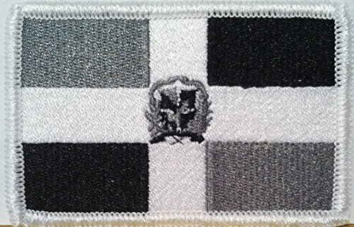 DOMINICAN REPUBLIC Flag Embroidered VELCRO Patch Military Tactical Shoulder Emblem Black, White & Gray Version - And Flag Gray Black