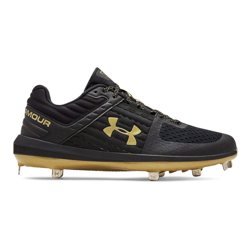 Under Armour Men's Yard Low ST Baseball Shoe, Black (004)/Metallic Gold, 14 by Under Armour