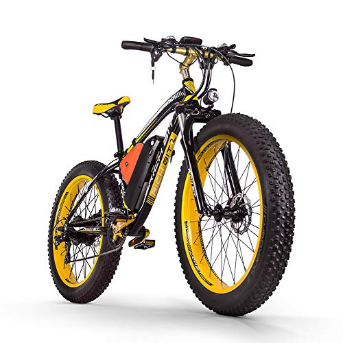 RICH BIT Electric Bicycle Men's E-bike Fat Snow Bike 1000W-48V-17Ah Li-battery 26*4.0 Mountain Bike MTB Shimano 21-speed Disc Brakes Intelligent Electric Bike