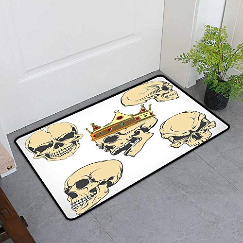 TableCovers&Home Front Door Mat Carpet, Skull Doormats for High Traffic Areas, Skulls Different Expressions Evil Face Crowned Death Monster Halloween Print (Sand Brown Yellow, H20 x -