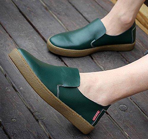 Aisun Män Trendiga Läder Slip-on Skor Mörkgröna