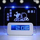Inkint® LED Digital Alarm Clock with Message Board + USB Cable + Fluorescent Pen Highlighter Digital Reminder Clock with Temperature/ Calendar / Time Reminds LED Blue Digital Message Alarm Clock