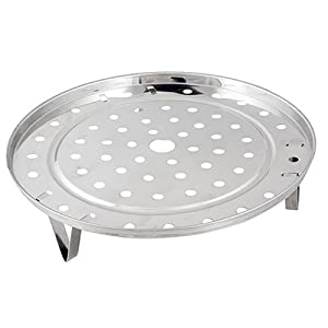 super1798 Silver Tone Stainless Steel Steaming Steamer Rack Tray Stand for Cooker 21.5cm