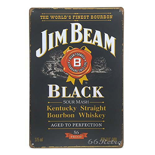 Jim Beam Black, Whiskey Metal Tin Sign, Vintage Style Wall Ornament Coffee & Bar Decor, 20 X 30 Cm. ()