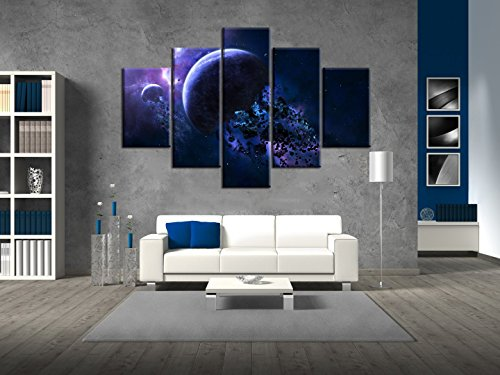 Extra Large Blue Space Abstract Planet Universe Painting on Canvas 5 PCS Rocks Floating Around Earth Wall Art Pictures Print For Home Decor Framed for Living Room Stretched Ready to Hang(60''Wx40''H) ()