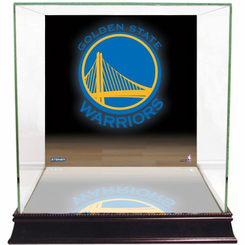 (NBA Golden State Warriors Glass Basketball Display Case with Team Logo)