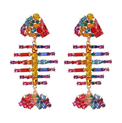 (Rainbow Colorful/White Crystal Acrylic Alloy Fish Bone Earring Fully Jeweled (Rainbow))